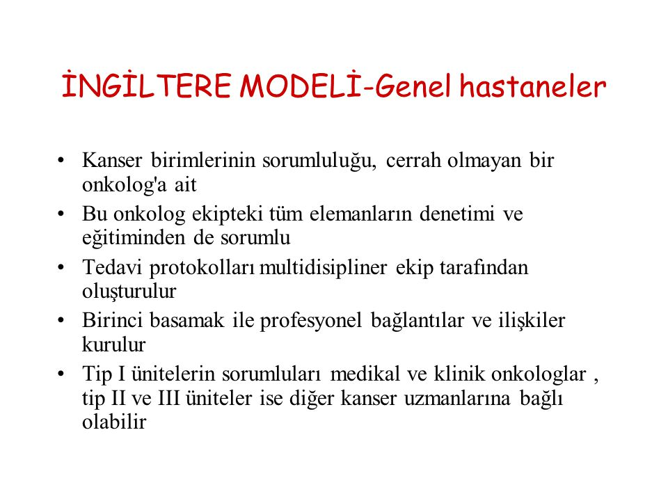 İNGİLTERE MODELİ-Genel hastaneler
