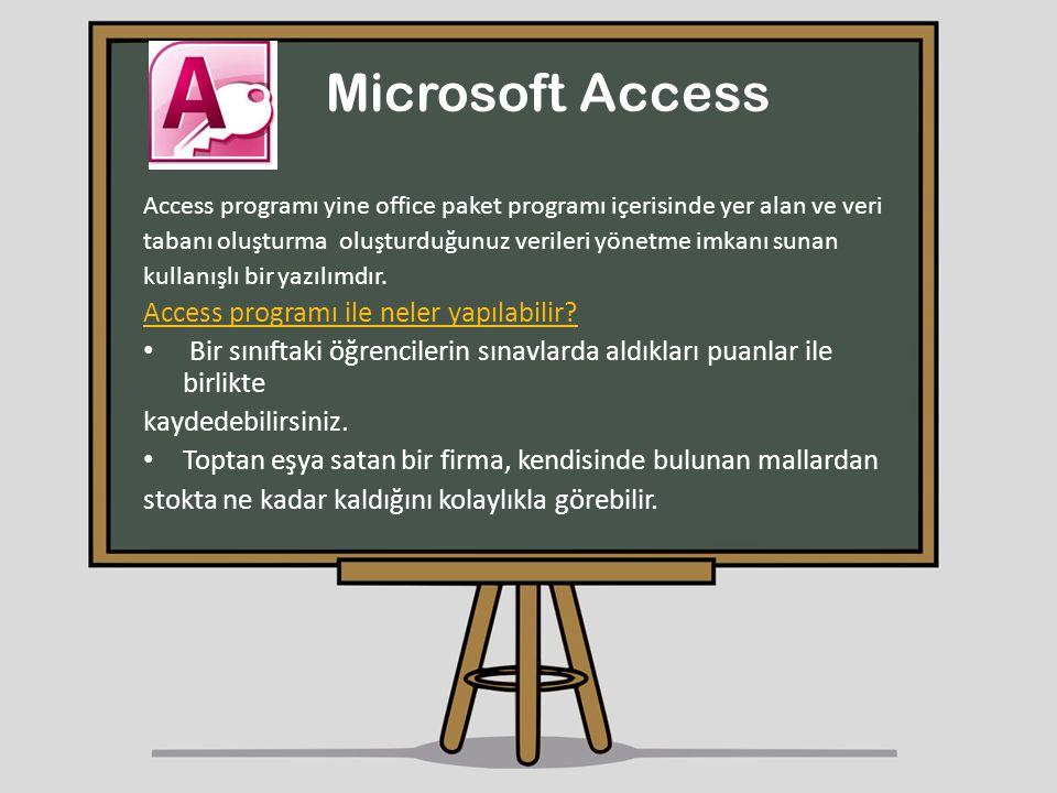 Microsoft Access Access programı ile neler yapılabilir