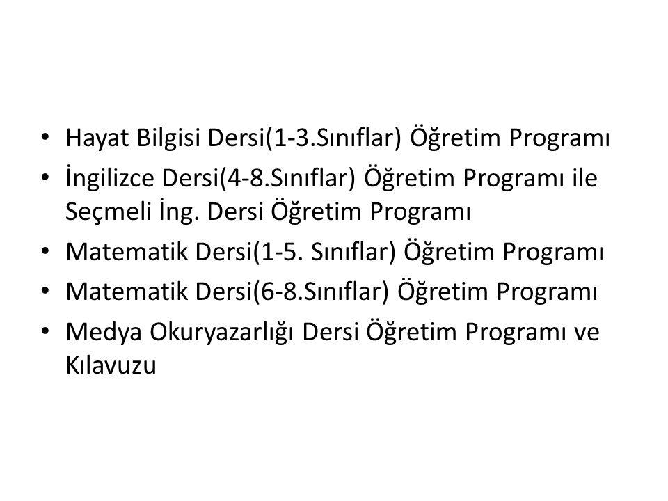 Hayat Bilgisi Dersi(1-3.Sınıflar) Öğretim Programı