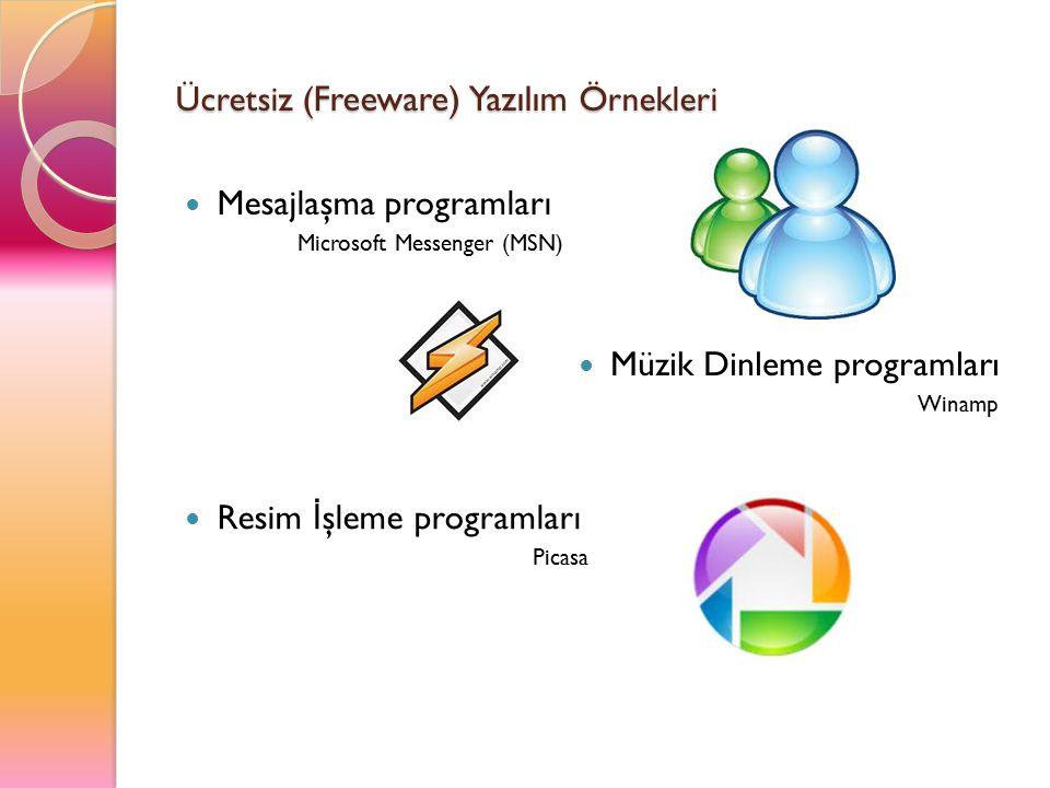 Ücretsiz (Freeware) Yazılım Örnekleri