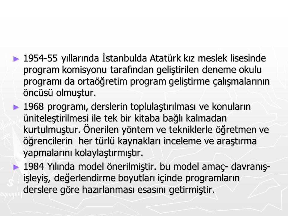 1954-55 yıllarında İstanbulda Atatürk kız meslek lisesinde program komisyonu tarafından geliştirilen deneme okulu programı da ortaöğretim program geliştirme çalışmalarının öncüsü olmuştur.
