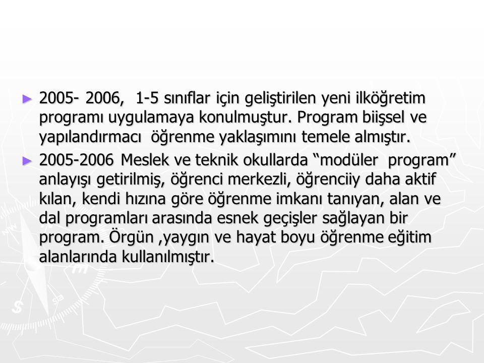 2005- 2006, 1-5 sınıflar için geliştirilen yeni ilköğretim programı uygulamaya konulmuştur. Program biişsel ve yapılandırmacı öğrenme yaklaşımını temele almıştır.