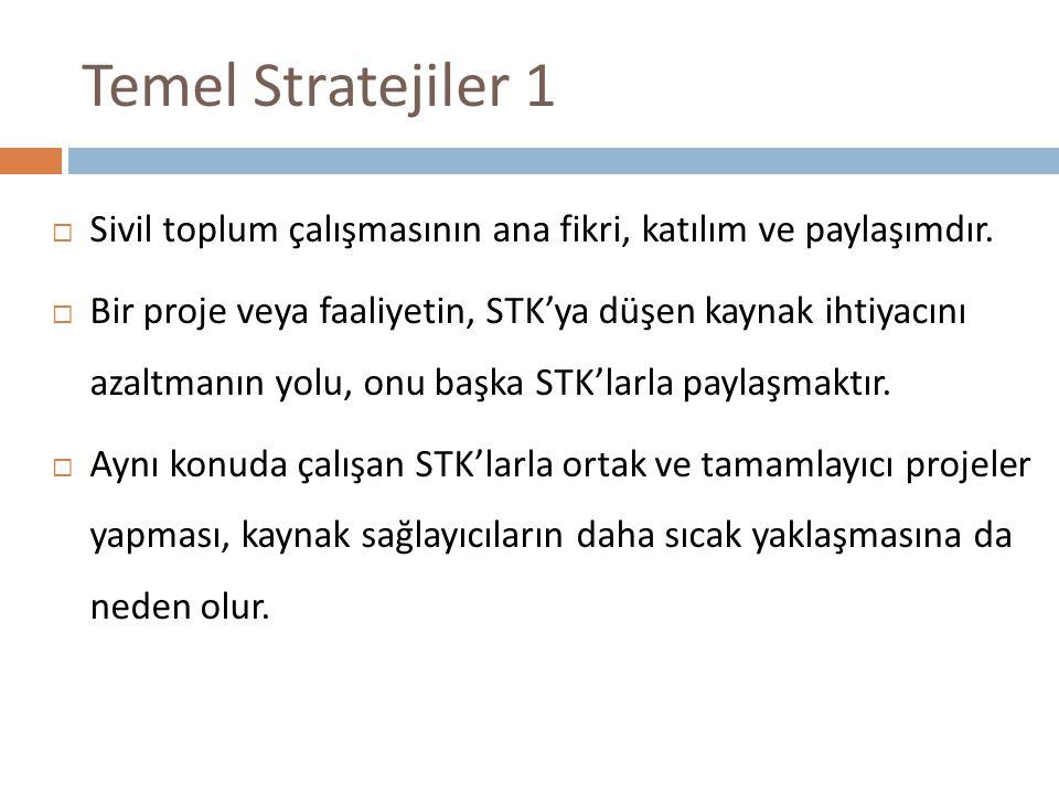 Temel Stratejiler 1 Sivil toplum çalışmasının ana fikri, katılım ve paylaşımdır.