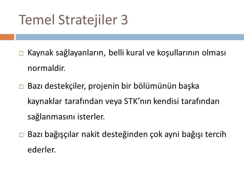 Temel Stratejiler 3 Kaynak sağlayanların, belli kural ve koşullarının olması normaldir.