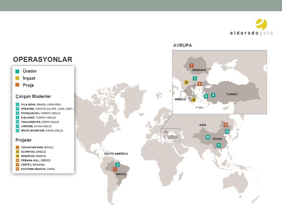 AVRUPA OPERASYONLAR Üretim İnşaat Proje Çalışan Madenler Projeler