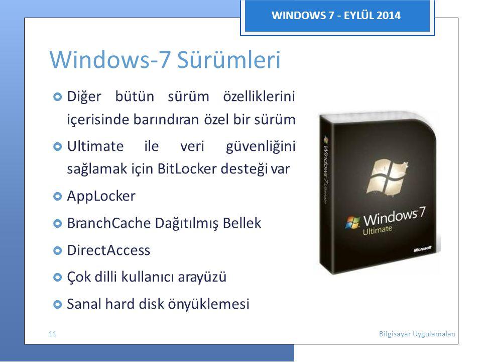 Windows-7 Sürümleri WINDOWS 7 - EYLÜL 2014
