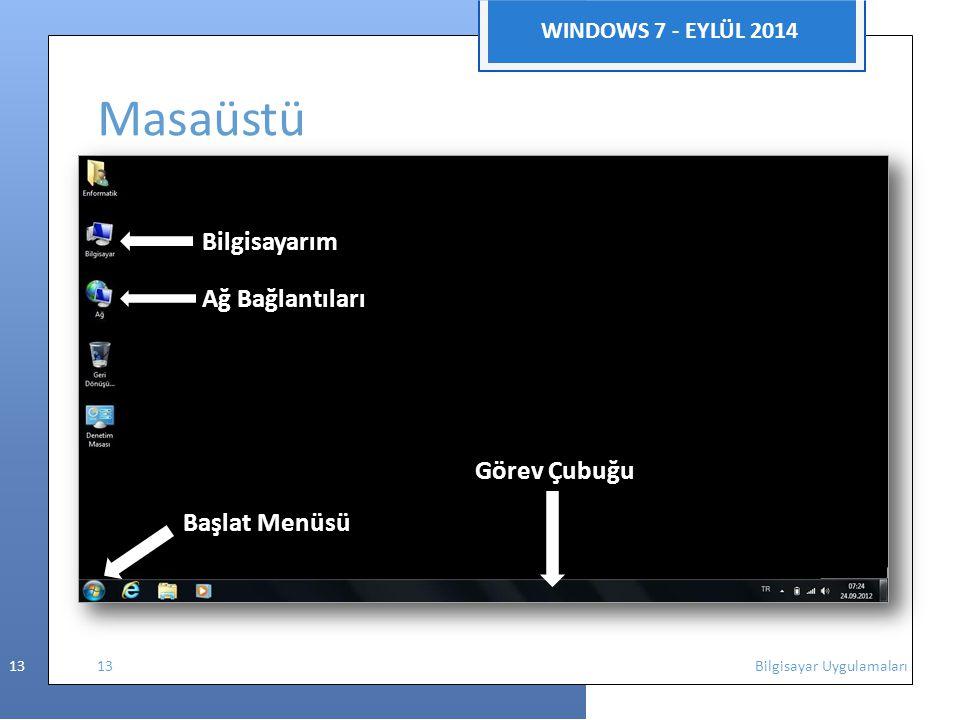 Masaüstü WINDOWS 7 - EYLÜL 2014 Bilgisayarım Ağ Bağlantıları