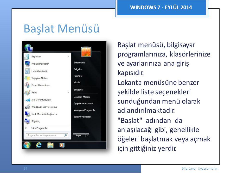 Başlat Menüsü WINDOWS 7 - EYLÜL 2014 Başlat menüsü, bilgisayar