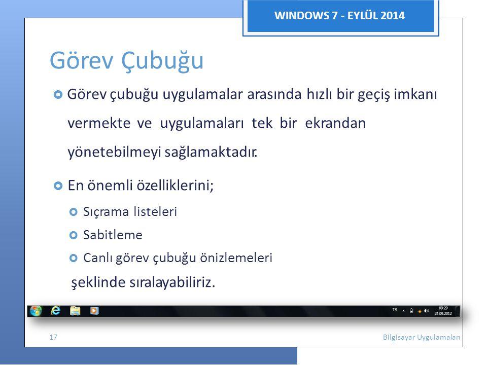 Görev Çubuğu WINDOWS 7 - EYLÜL 2014