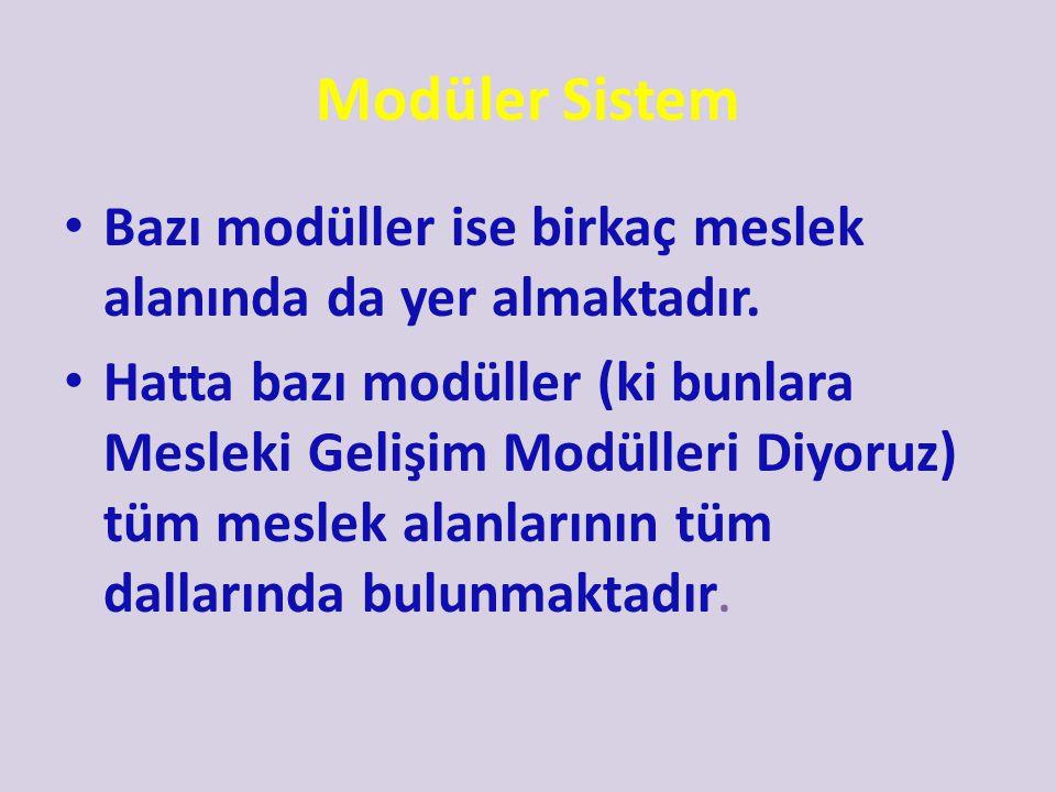 Modüler Sistem Bazı modüller ise birkaç meslek alanında da yer almaktadır.