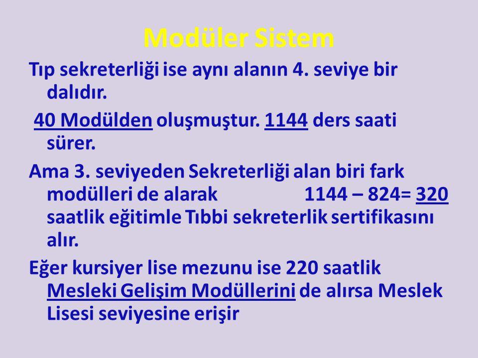 Modüler Sistem Tıp sekreterliği ise aynı alanın 4. seviye bir dalıdır.