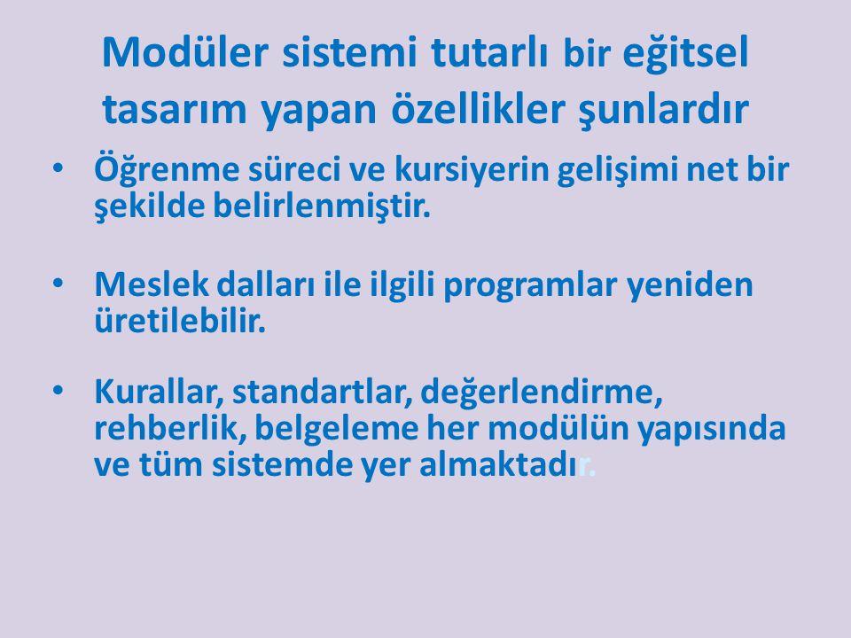 Modüler sistemi tutarlı bir eğitsel tasarım yapan özellikler şunlardır