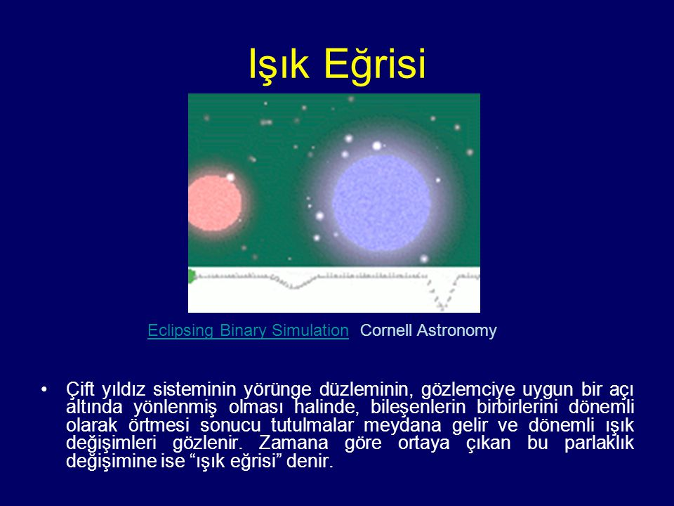Işık Eğrisi Eclipsing Binary Simulation. Cornell Astronomy.