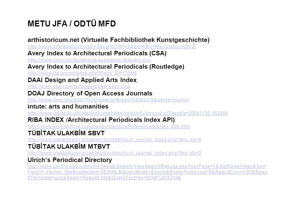 METU JFA / ODTÜ MFD arthistoricum