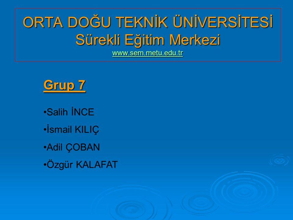 ORTA DOĞU TEKNİK ÜNİVERSİTESİ Sürekli Eğitim Merkezi www. sem. metu
