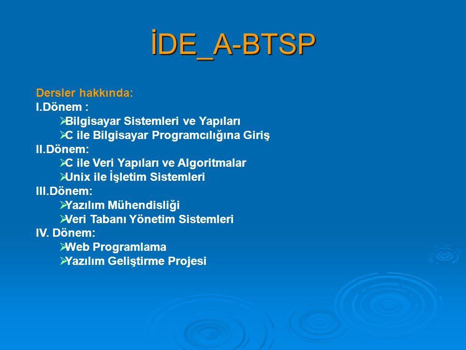 İDE_A-BTSP Dersler hakkında: I.Dönem :