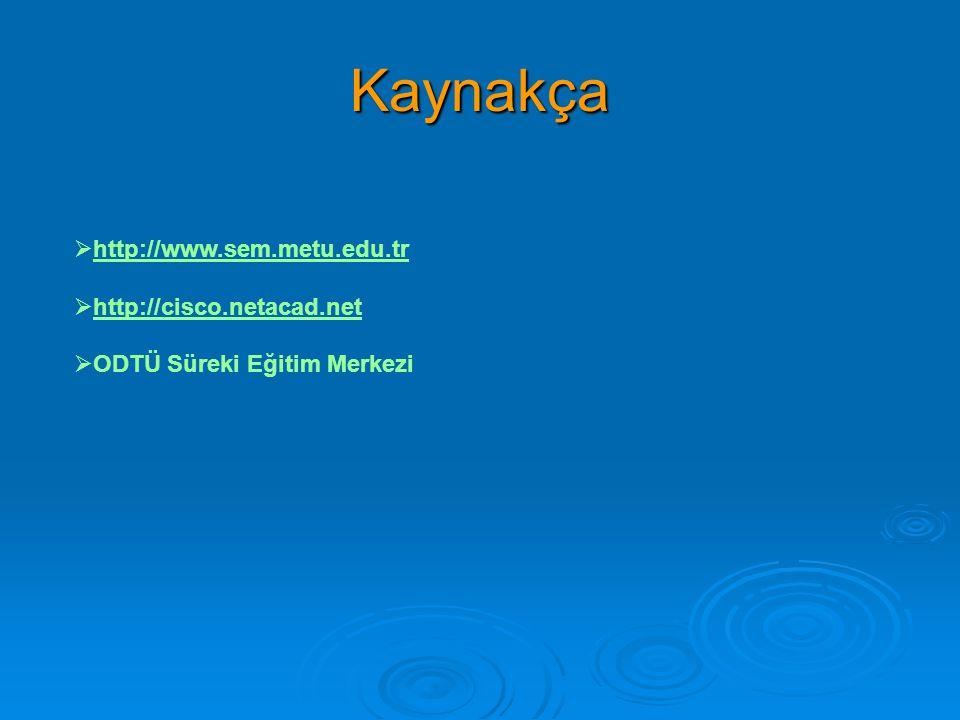 Kaynakça http://www.sem.metu.edu.tr http://cisco.netacad.net