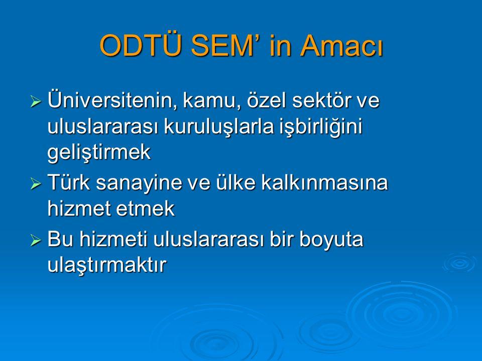 ODTÜ SEM' in Amacı Üniversitenin, kamu, özel sektör ve uluslararası kuruluşlarla işbirliğini geliştirmek.
