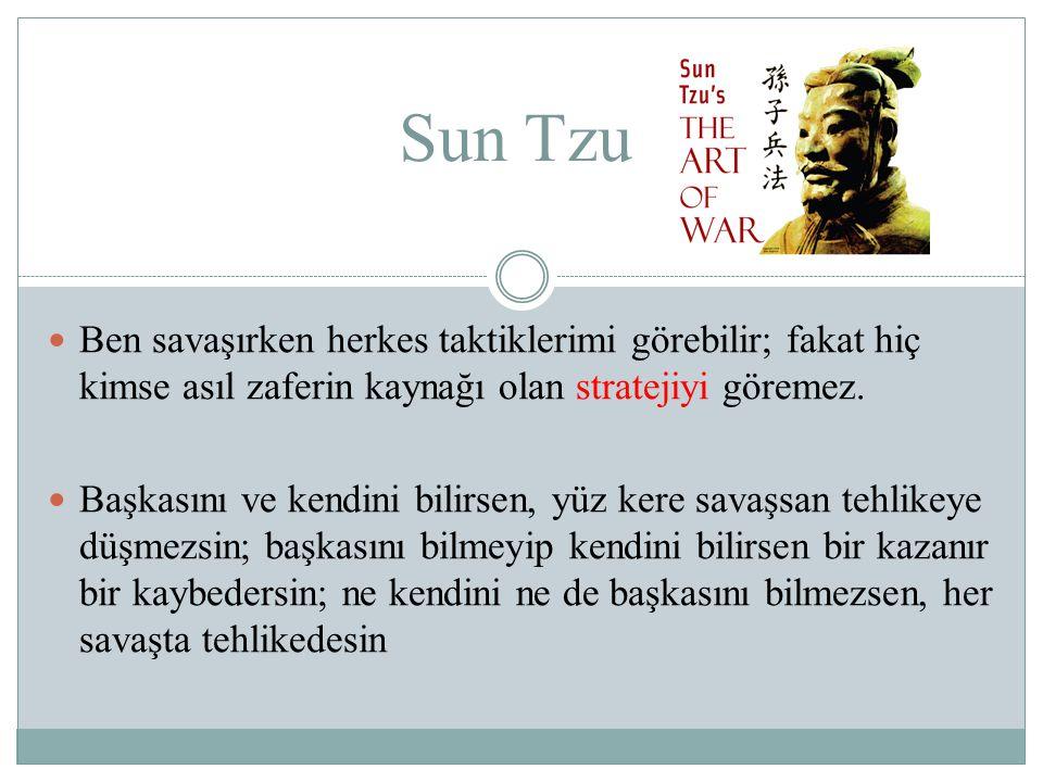 Sun Tzu Ben savaşırken herkes taktiklerimi görebilir; fakat hiç kimse asıl zaferin kaynağı olan stratejiyi göremez.