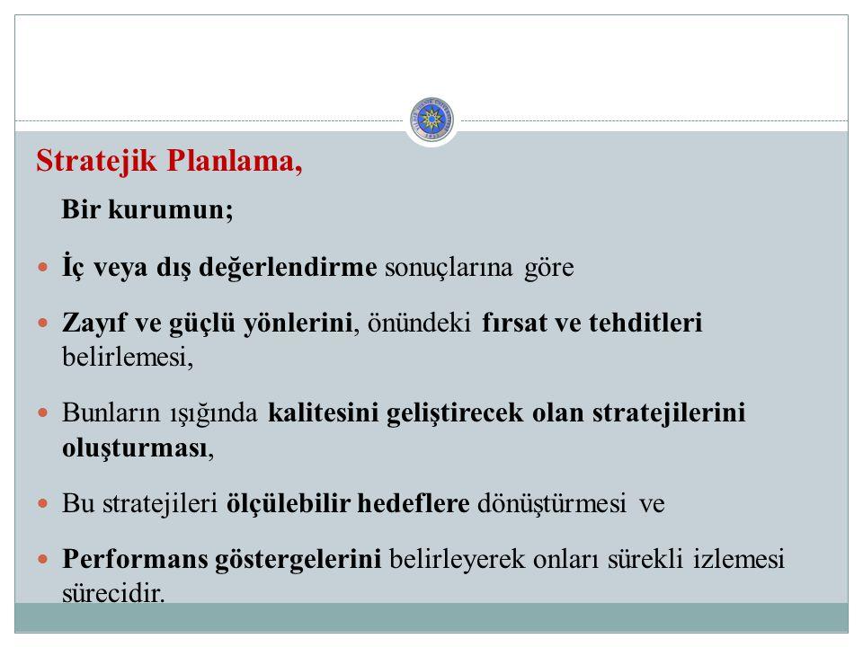 Bir kurumun; Stratejik Planlama,