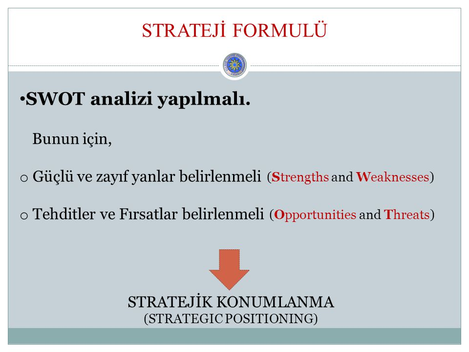 (STRATEGIC POSITIONING)