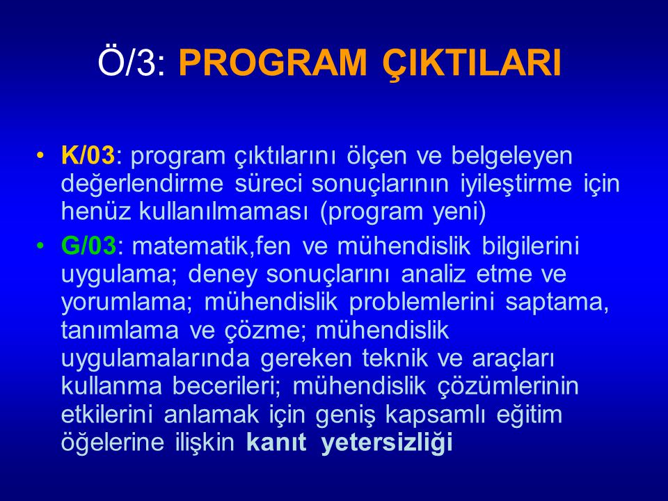 Ö/3: PROGRAM ÇIKTILARI