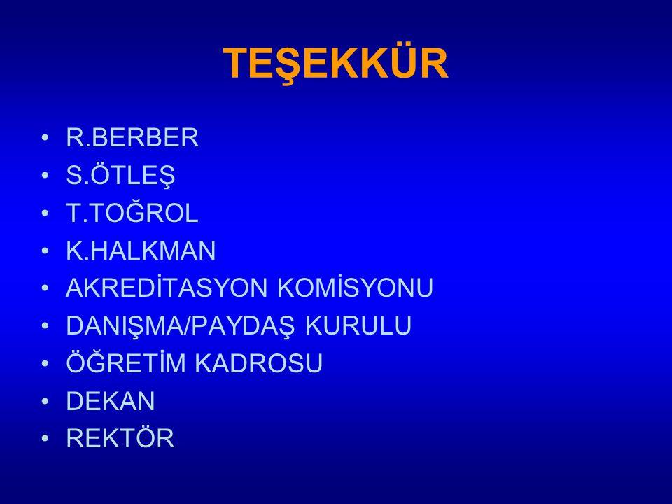 TEŞEKKÜR R.BERBER S.ÖTLEŞ T.TOĞROL K.HALKMAN AKREDİTASYON KOMİSYONU