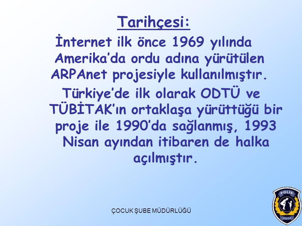Tarihçesi: İnternet ilk önce 1969 yılında Amerika'da ordu adına yürütülen ARPAnet projesiyle kullanılmıştır.