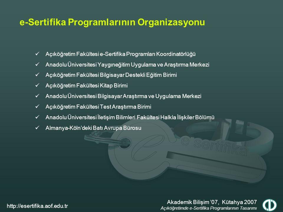 e-Sertifika Programlarının Organizasyonu