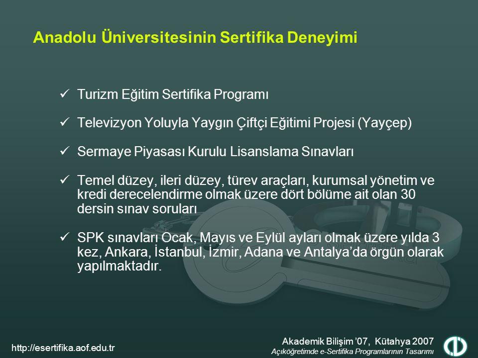 Anadolu Üniversitesinin Sertifika Deneyimi