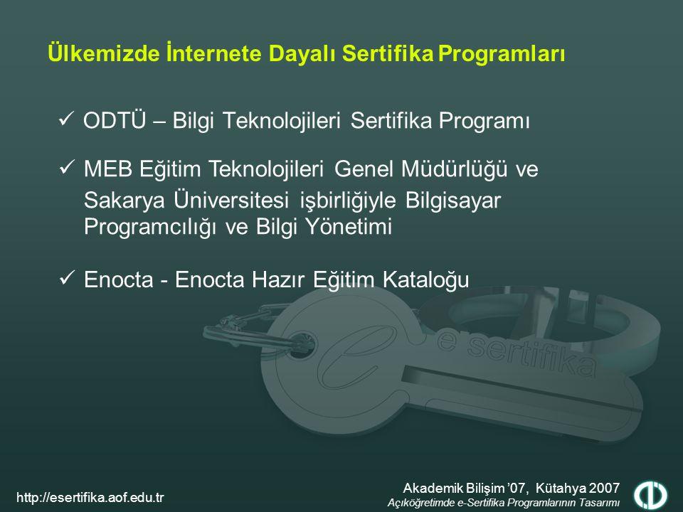 Ülkemizde İnternete Dayalı Sertifika Programları