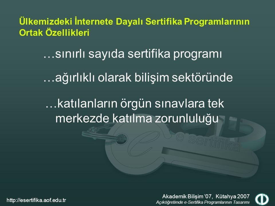 …sınırlı sayıda sertifika programı