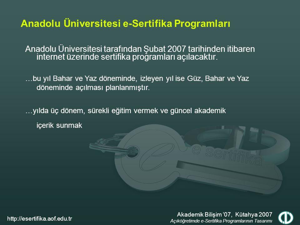 Anadolu Üniversitesi e-Sertifika Programları