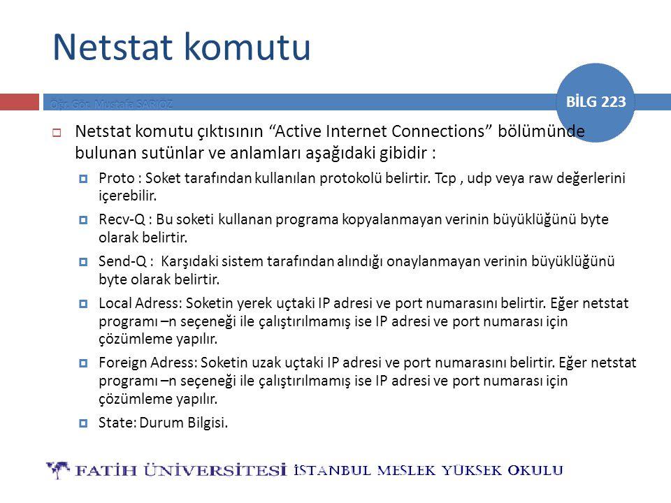 Netstat komutu Netstat komutu çıktısının Active Internet Connections bölümünde bulunan sutünlar ve anlamları aşağıdaki gibidir :