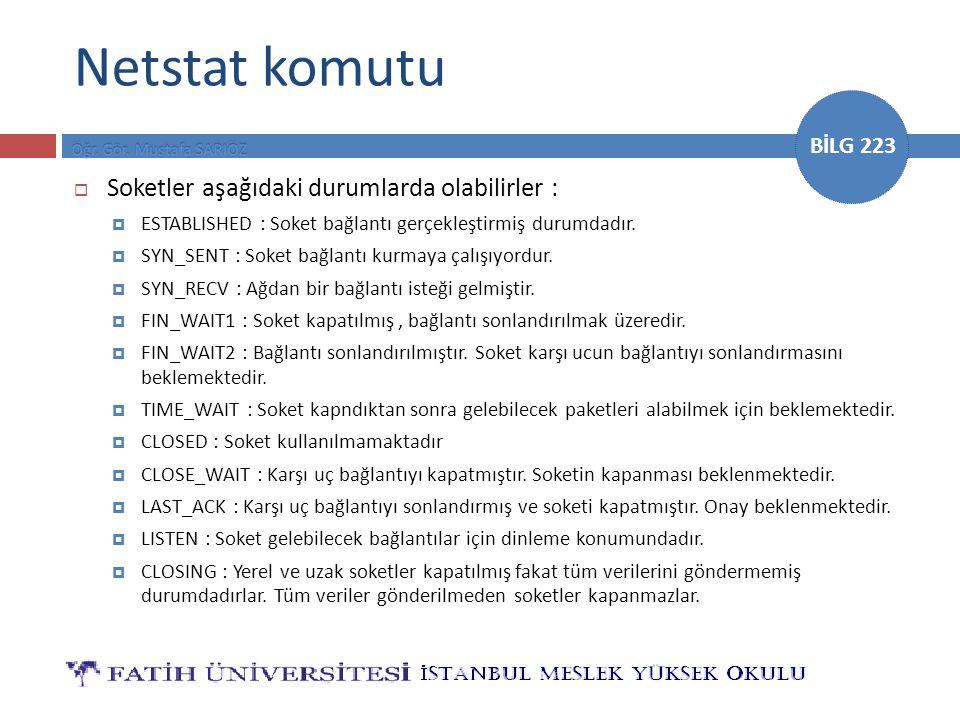 Netstat komutu Soketler aşağıdaki durumlarda olabilirler :