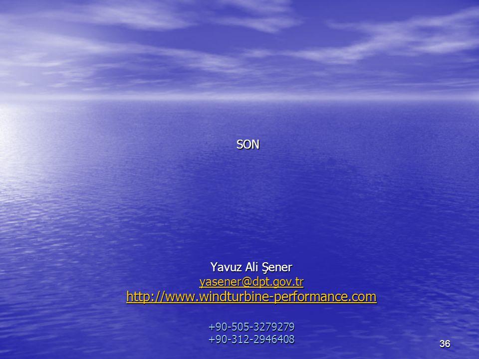 SON Yavuz Ali Şener yasener@dpt.gov.tr http://www.windturbine-performance.com +90-505-3279279 +90-312-2946408.
