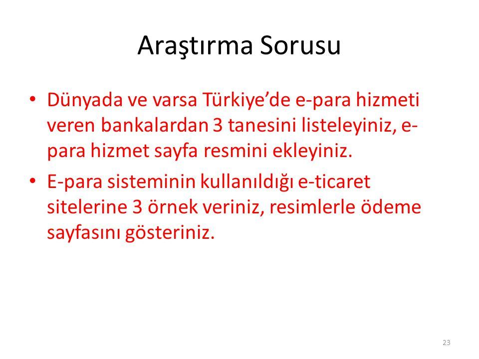 Araştırma Sorusu Dünyada ve varsa Türkiye'de e-para hizmeti veren bankalardan 3 tanesini listeleyiniz, e-para hizmet sayfa resmini ekleyiniz.