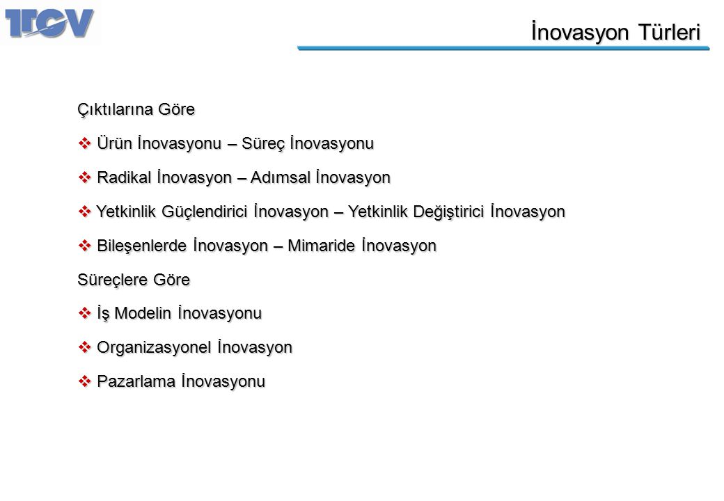 İnovasyon Türleri Çıktılarına Göre Ürün İnovasyonu – Süreç İnovasyonu