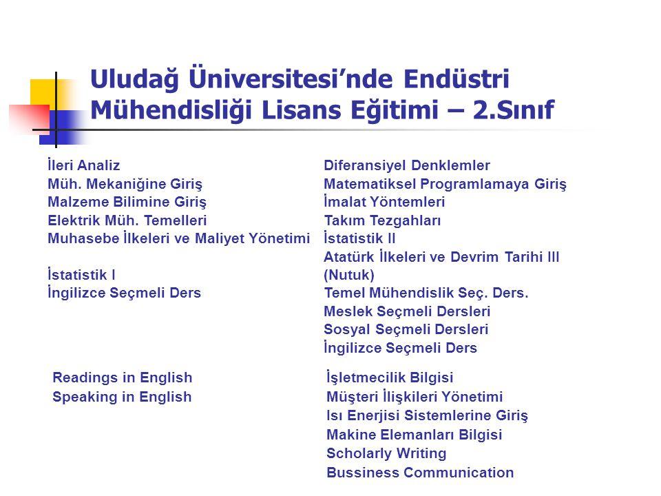 Uludağ Üniversitesi'nde Endüstri Mühendisliği Lisans Eğitimi – 2.Sınıf