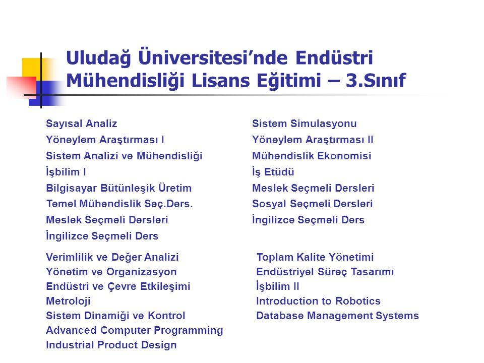 Uludağ Üniversitesi'nde Endüstri Mühendisliği Lisans Eğitimi – 3.Sınıf