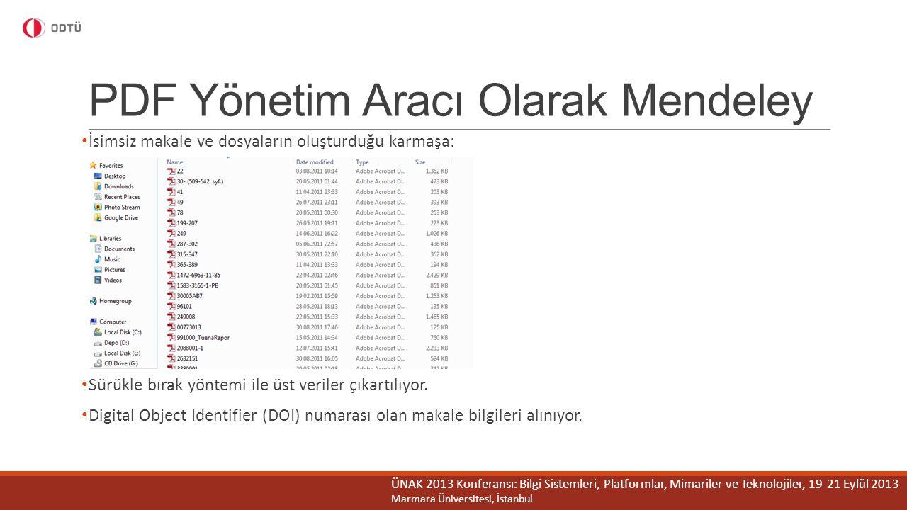 PDF Yönetim Aracı Olarak Mendeley
