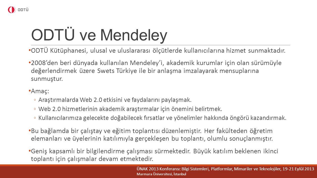 ODTÜ ve Mendeley ODTÜ Kütüphanesi, ulusal ve uluslararası ölçütlerde kullanıcılarına hizmet sunmaktadır.