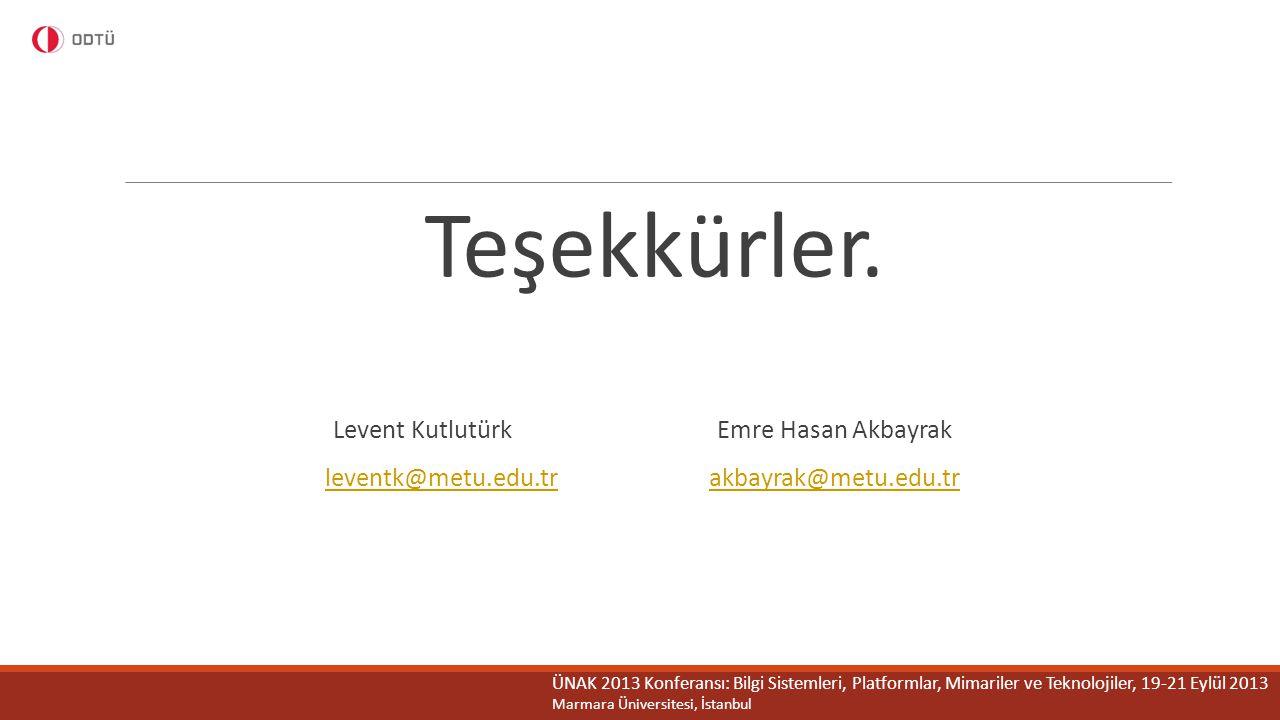 Teşekkürler. Levent Kutlutürk Emre Hasan Akbayrak