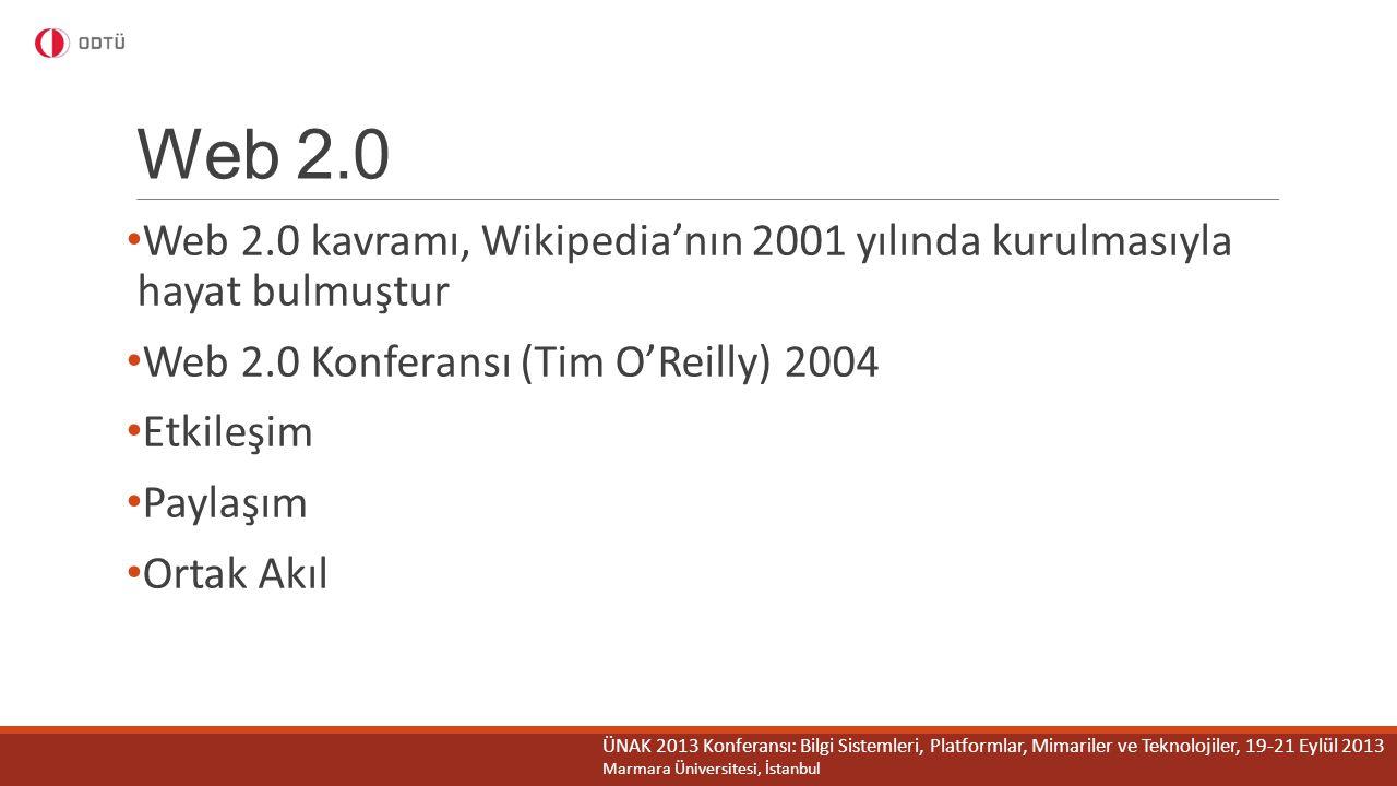 Web 2.0 Web 2.0 kavramı, Wikipedia'nın 2001 yılında kurulmasıyla hayat bulmuştur. Web 2.0 Konferansı (Tim O'Reilly) 2004.
