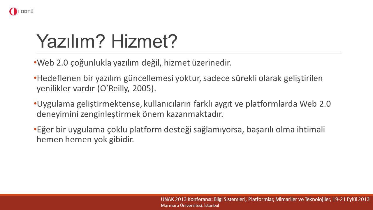 Yazılım Hizmet Web 2.0 çoğunlukla yazılım değil, hizmet üzerinedir.