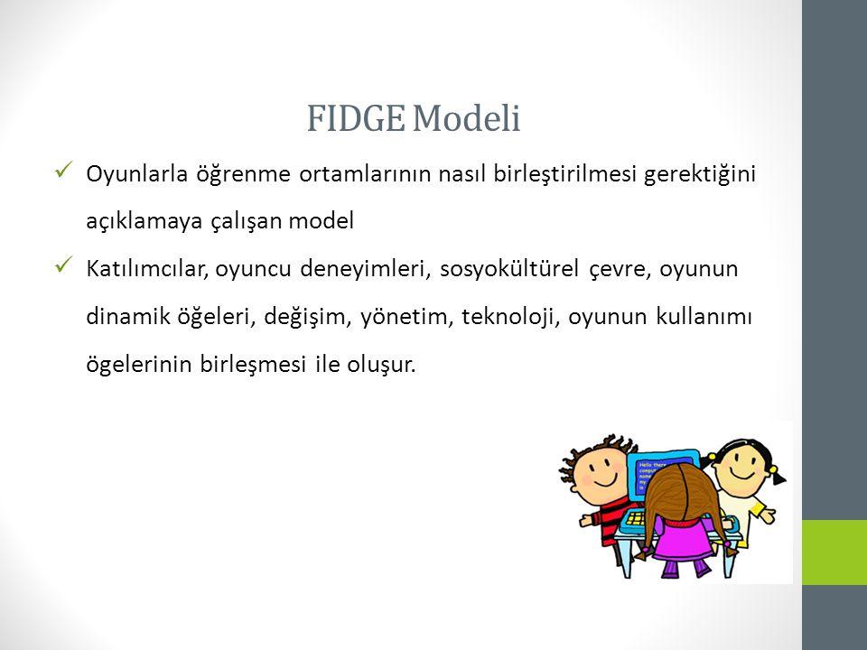 FIDGE Modeli Oyunlarla öğrenme ortamlarının nasıl birleştirilmesi gerektiğini açıklamaya çalışan model.