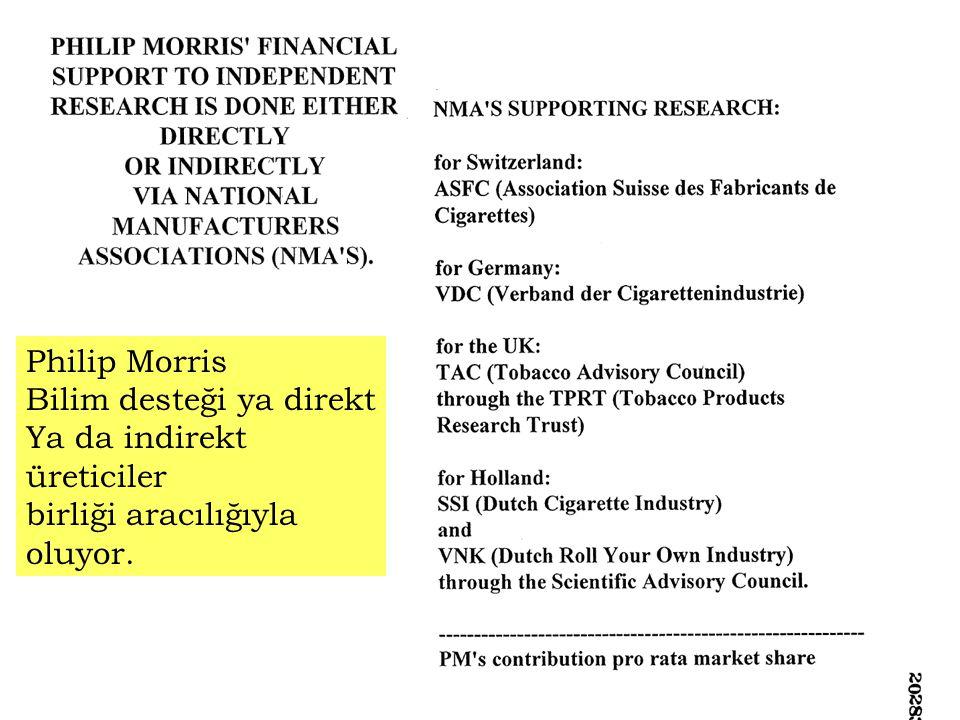 Philip Morris Bilim desteği ya direkt Ya da indirekt üreticiler birliği aracılığıyla oluyor.