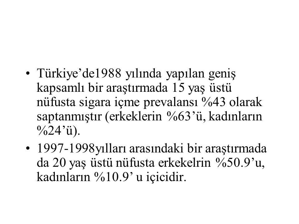Türkiye'de1988 yılında yapılan geniş kapsamlı bir araştırmada 15 yaş üstü nüfusta sigara içme prevalansı %43 olarak saptanmıştır (erkeklerin %63'ü, kadınların %24'ü).