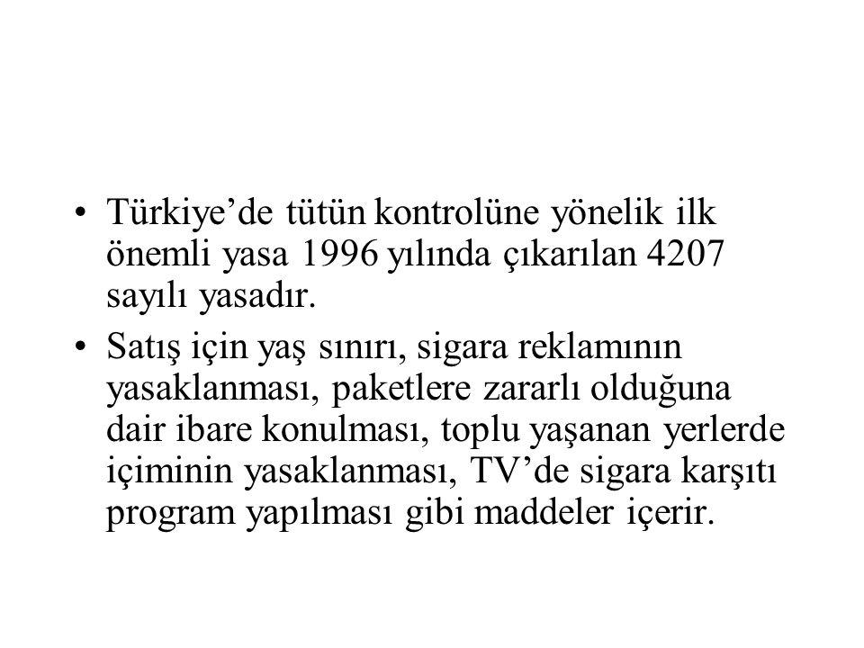 Türkiye'de tütün kontrolüne yönelik ilk önemli yasa 1996 yılında çıkarılan 4207 sayılı yasadır.