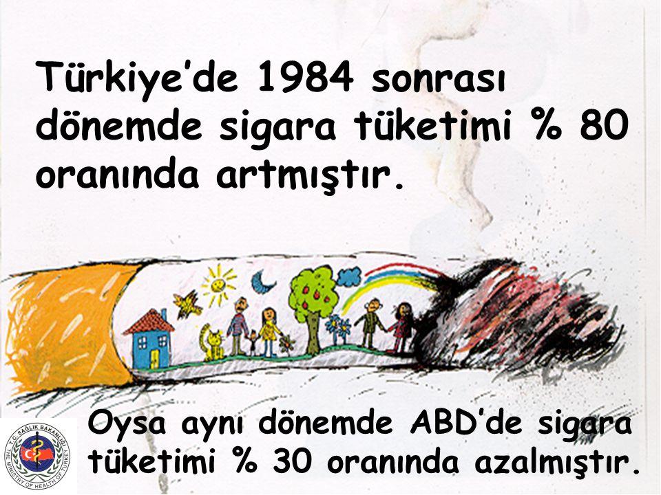 Türkiye'de 1984 sonrası dönemde sigara tüketimi % 80 oranında artmıştır.